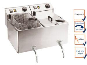 Profi Doppel Fritteuse m. Ablasshahn, Edelstahl, 2 x 8L, 2 x 3000W, 50-190°C