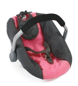 Puppen-Autositz, melange anthrazit-pink