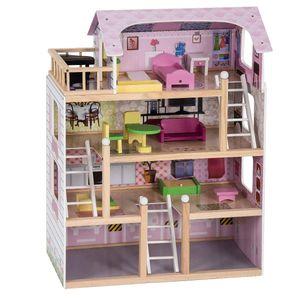 COSTWAY Puppenhaus Holz Puppenstube Puppenvilla Barbiehaus Spielzeughaus mit Moebel 81 x 60,5 x 29,5 cm