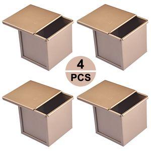 Set von 4 Fš¹r 250g Teig Toast Brot Backform Geb?ck Kuchen Brotbackform Mold Backform mit Deckel(Gold-Quadrat-Glatt)