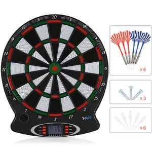 """Dartscheibe 15"""" Dartboard Dartspiel E-Dart Soft Dartpfeile Elektronisch LCD Bewertungsanzeige Mit 6 Stk Darts"""