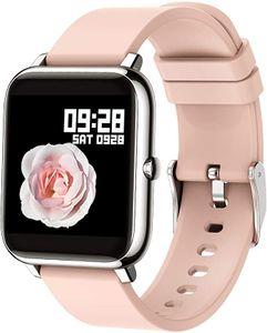 Smartwatch, Fitness Tracker mit Blutdruckmessung Fitness Armbanduhr mit Pulsuhr Schlafmonitor IP67 Wasserdicht Sportuhr Schrittzähler für Android und iOS Smart Watch für Damen Herren, Rosa