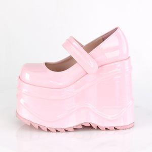 Demonia WAVE-32 Plateauballerinas baby pink rosa, Größe:EU-36 / US-6 / UK-3