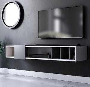 TV-Lowboard Design-T in weiß und grau TV-Unterteil hängend Board mit 150 x 25 cm