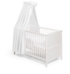 Kinderbett Babybett NELE Komplettausstattung weiss