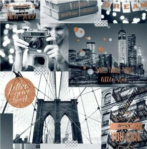 Glitzertapete Big City Lights Collage Vinyl Tapete
