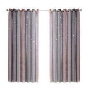 Anself Vorhang 2er Set Doppelschicht Sterne Gradient Aushöhlen Vorhänge für Schlafzimmer Wohnzimmer, 134x240cm