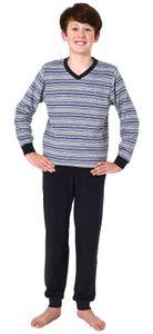 Warmer Jungen Frottee Pyjama lang, Schlafanzug mit Bündchen und Ringeln - 65689, Farbe:dunkelgrau, Größe:170-176