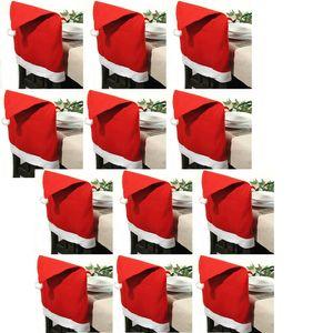 12x Stuhlhusse Nikolausmütze Husse Stuhl Nikolaus Weihnachten Deko Weihnachts Mütze