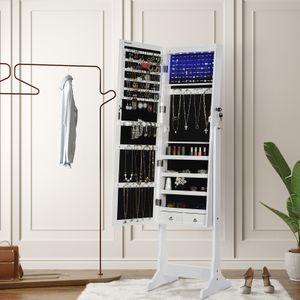 SONGMICS Schmuckschrank mit Spiegel und LED Beleuchtung 151cm abschließbar Spiegelschrank weiß aus Holz JBC94W