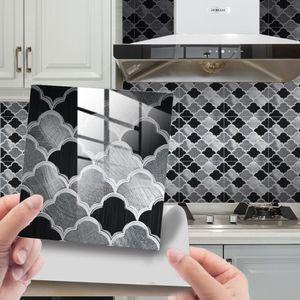 25 Stück Küchenfliesen Aufkleber Badezimmer Mosaik Selbst-Wandtattoo DIY,Farbe: Schwarz,Größe:15x15cm