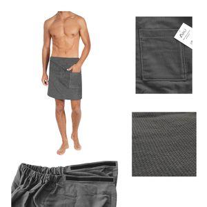 ARLI Saunatuch Herren anthrazit Saunakilt Sarong Kilt Wellness Klettverschluss 100% Baumwolle