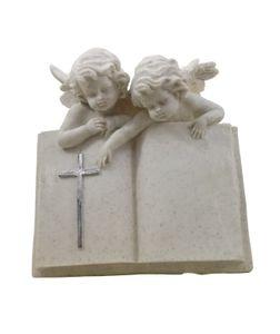 2 Engel mit Buch Grabschmuck Grabstein Gedenkstein Grabdeko Grab Deko Kreuz