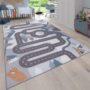 Kinder-Teppich, Spiel-Teppich Für Kinderzimmer Straßen-Design Mit Tieren Beige, Grösse:140x200 cm