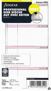 Filofax Kalendereinlage Personal 95 x 171 mm : Professional Eine Woche auf zwei Seiten 2021 deutsch