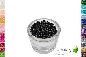200 Wachsperlen 4mm, Farbe:schwarz 030