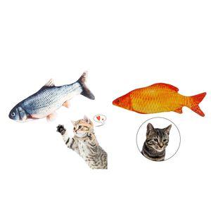 2St Gras + Roter Karpfen Elektrischer Tanzender Fisch Katzenspielzeug Wagging Flipping Moving