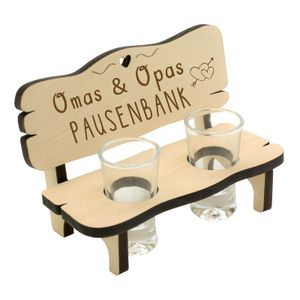 12289 Schnapsbank mit 2 Gläsern Omas und Opas Pausenbank