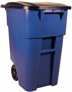 RUBBERMAID BRUTE® Rollcontainer 189,3 l Blau oder Grün mit Deckel aus Polyethylen, Farbe:Grün