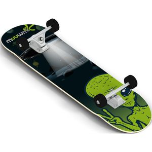 Muuwmi skateboard Alien 20 x 79 cm Holz schwarz/grün