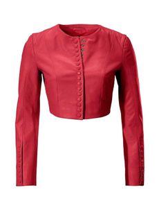 Ashley Brooke Damen Designer-Lammnappalederjacke, rot, Größe:40