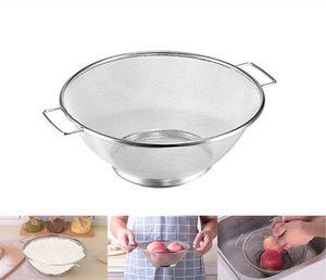 Sieb Edelstahl Seiher 21,5cm Nudelsieb Abtropfsieb Küchen Salat Doppelohr fein