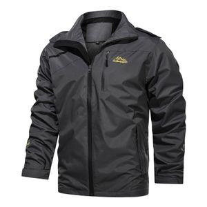 Herrenmode Outdoor Jacke Plus Winddichte wasserdichte Jacke Mantel Tops Größe:XXXXL,Farbe:Grau