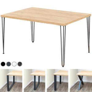 LAMO Manufaktur Schreibtisch Computertisch Tisch Esstisch 138x100x76 cm (LxBxH), Spanplatte/ Creative, Eiche Gold / Anthrazit