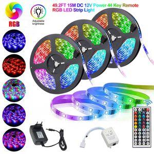 15M LED Streifen set , RGB LED Stripe 3528 900 SMD, LED Strip 300 LEDs,  mit 44 Key Remote 12V DC Power Full Kit