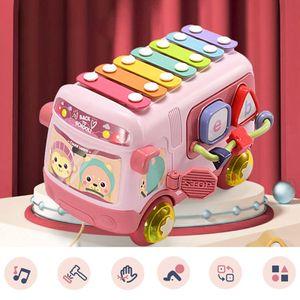 Musik Bus Spielzeug mit Xylophon und Bausteine, Best PäDagogisches Spielzeug für Kleinkinder   Geschenk Baby Junge Baby Spielzeug 1 2 3 Jahre Rosa Montessori Lernspielzeug für Kinder