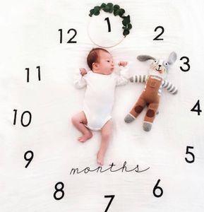 Neugeborenes Baby Monatliches Wachstum Meilenstein Decke Fotografie Requisiten Hintergrund Stoff Gedenken Teppich Uhr