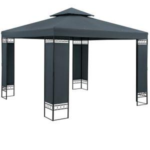 Pavillon Gartenzelt Gartenpavillon Lorca 3x3m Metall Wasserabweisend Luxus, Farbe:anthrazit
