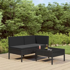 3-tlg. Garten Möbel Set Garten-Lounge-Set   Gartengarnitur LoungeSet Lounge-Möbel Sitzgruppe Garten mit Auflagen Poly Rattan Schwarz  4928