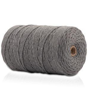 Makramee Garn - 200m (Stärke: 3mm) - Gezwirntes Baumwolle Garn - Hochwertiges, supersoftes Luxus Garn - grau/grey