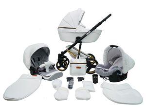 Kinderwagen Buggy Schwenkreifen Aluminium Premium Comodo G by Ferriley & Fitz White 6 3in1 mit Babyschale