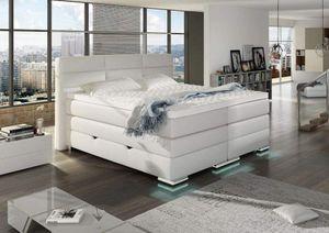 Roma Boxspringbett mit Bettkasten Weiß Kunstleder 160 x 200 cm