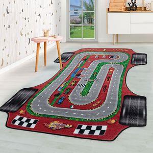 Kurzflor Kinderteppich Kinderzimmer Teppich Spielteppich Rennstrecke Auto Rot, Farbe:Rot, Grösse:160x230 cm