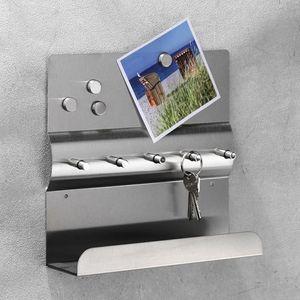Schlüsselleiste Schlüsselboard Wandboard Magnete Ablage Edelstahl B25xT6xH24cm