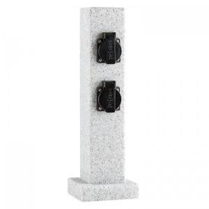 Waldbeck Granite Power - Außensteckdose , Gartensteckdose , 4-fach Schutzkontakt , 3500W , spritzwassergeschützt , 4 Kabeldurchlässe , witterungsbeständig , grau