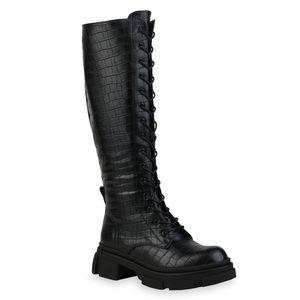 Mytrendshoe Damen Stiefel Leicht Gefütterte Plateaustiefel Profil-Sohle Schuhe 835798, Farbe: Schwarz, Größe: 38