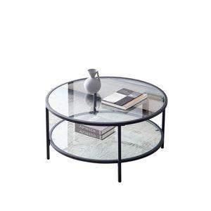 Curyu Couchtisch Glastisch Ø85 x 45,5 cm rund Sofatisch Wohnzimmertisch,  Transparent Kaffeetisch mit schwarzem Eisengestell