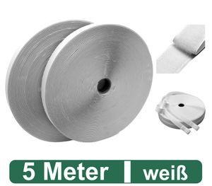 Klettband selbstklebend extra stark - 5m lang, 2cm breit - beidseitig für Fliegengitter, befestigen von Gardinen, Flauschband, Klettverschluss Band, wetterfest, weiss