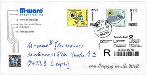 FDC mit 560+915-Cent Briefmarken, 2015, gelaufen, von M-ware®. ID15682