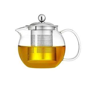 Glas-Teekanne mit Edelstahl-Teesieb und Deckel, Borosilikatglas-Teekessel für Herd geeignet, Blühende und lose Blätter, runde Glaskanne (650 ml)