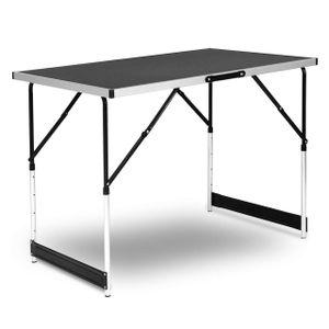 WOLTU CPT8121sz Campingtisch Klapptisch Gartentisch Arbeitstisch Balkontisch höhenverstellbar Aluminium Stahl MDF Schwarz