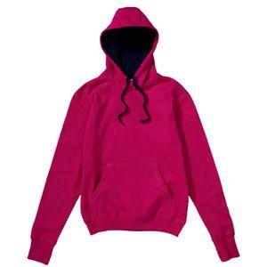 SG Contrast Damen Pullover mit Kapuze BC1518 (M) (dunkles Pink/Dunkelblau)