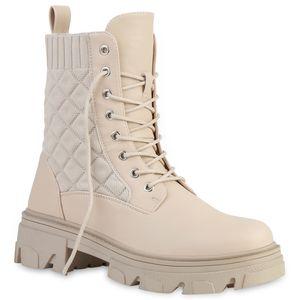 VAN HILL Damen Schnürstiefeletten Stiefeletten Gesteppte Strick Schuhe 837667, Farbe: Beige, Größe: 39