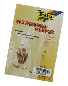 folia Verschluss-Clips Länge: ca. 30 mm gold 25 Stück