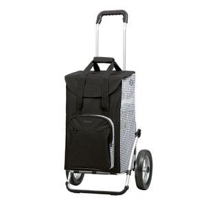 Andersen Einkaufstrolley Royal und 45 Liter Einkaufstasche Dante schwarz/weiß mit Kühlfach, Einkaufswagen Gestell aus Aluminium klappbar