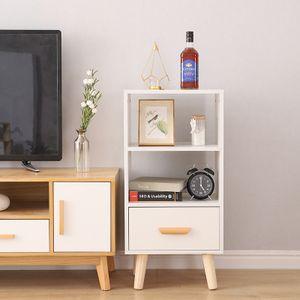 WYCTIN Sideboard Bücherregal  Mit Schublade im skandinavischen Stil 40*30*82cm Weiß
